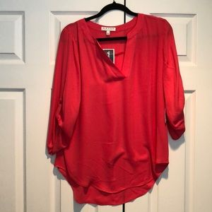 NWT chaus coral pink v neck blouse large